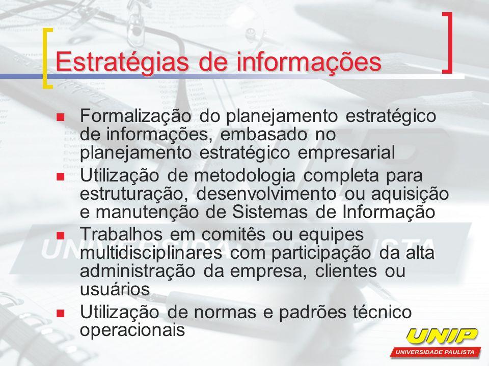 Estratégias de informações Formalização do planejamento estratégico de informações, embasado no planejamento estratégico empresarial Utilização de met