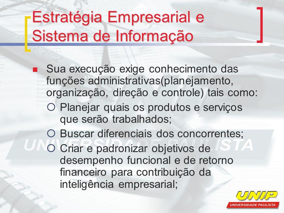 Estratégia Empresarial e Sistema de Informação Sua execução exige conhecimento das funções administrativas(planejamento, organização, direção e contro