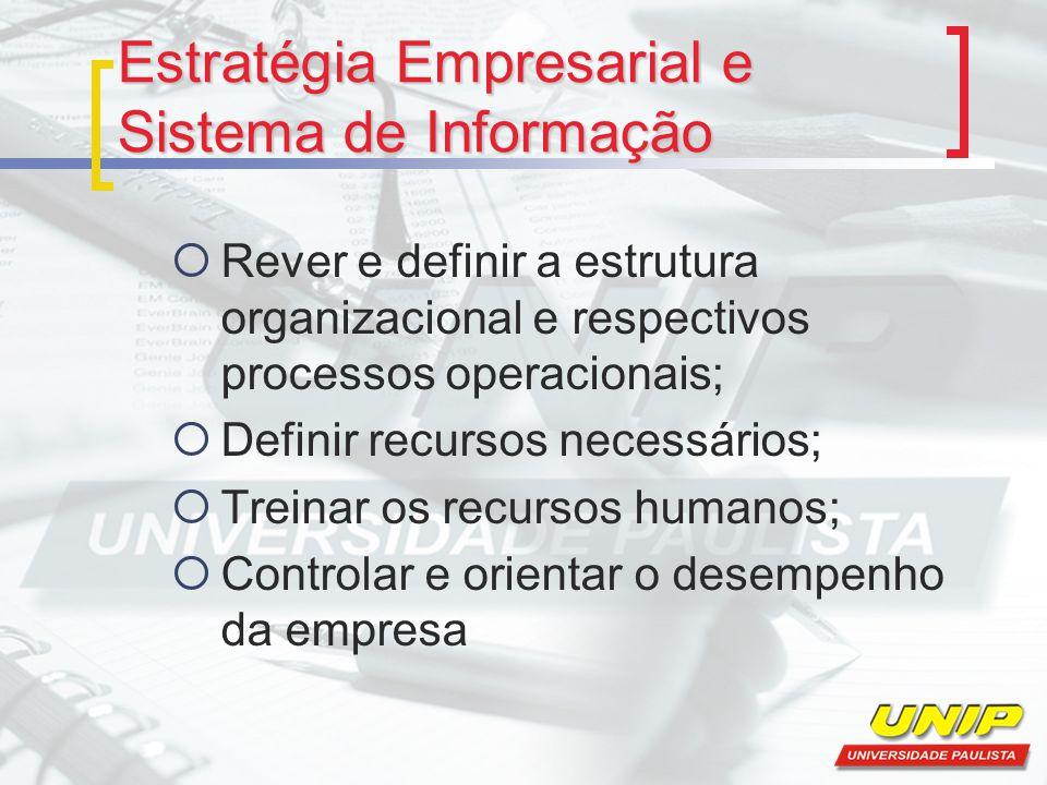Estratégia Empresarial e Sistema de Informação  Rever e definir a estrutura organizacional e respectivos processos operacionais;  Definir recursos n