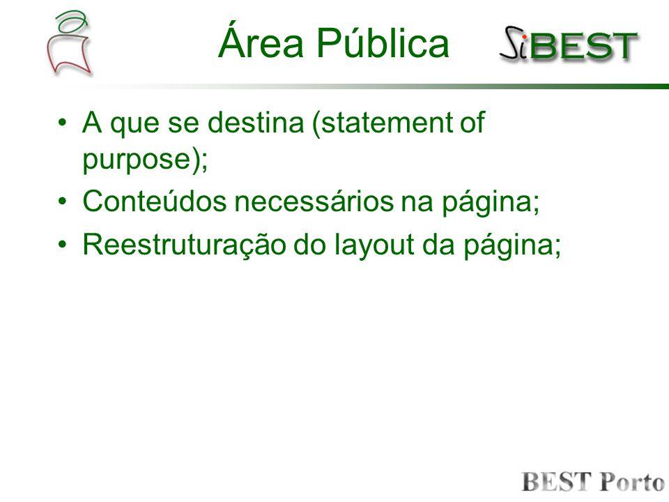 Área Pública A que se destina (statement of purpose); Conteúdos necessários na página; Reestruturação do layout da página;