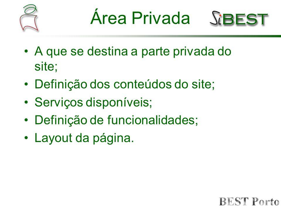 Área Privada A que se destina a parte privada do site; Definição dos conteúdos do site; Serviços disponíveis; Definição de funcionalidades; Layout da