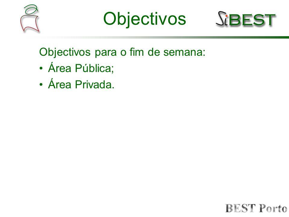 Objectivos Objectivos para o fim de semana: Área Pública; Área Privada.