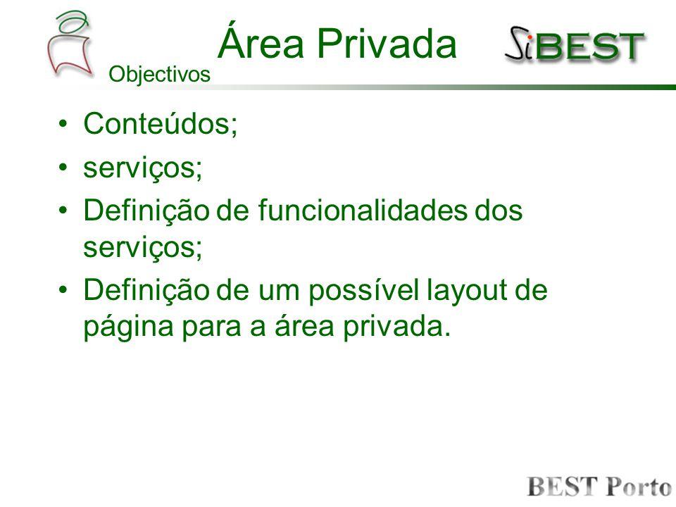 Conteúdos; serviços; Definição de funcionalidades dos serviços; Definição de um possível layout de página para a área privada. Área Privada Objectivos