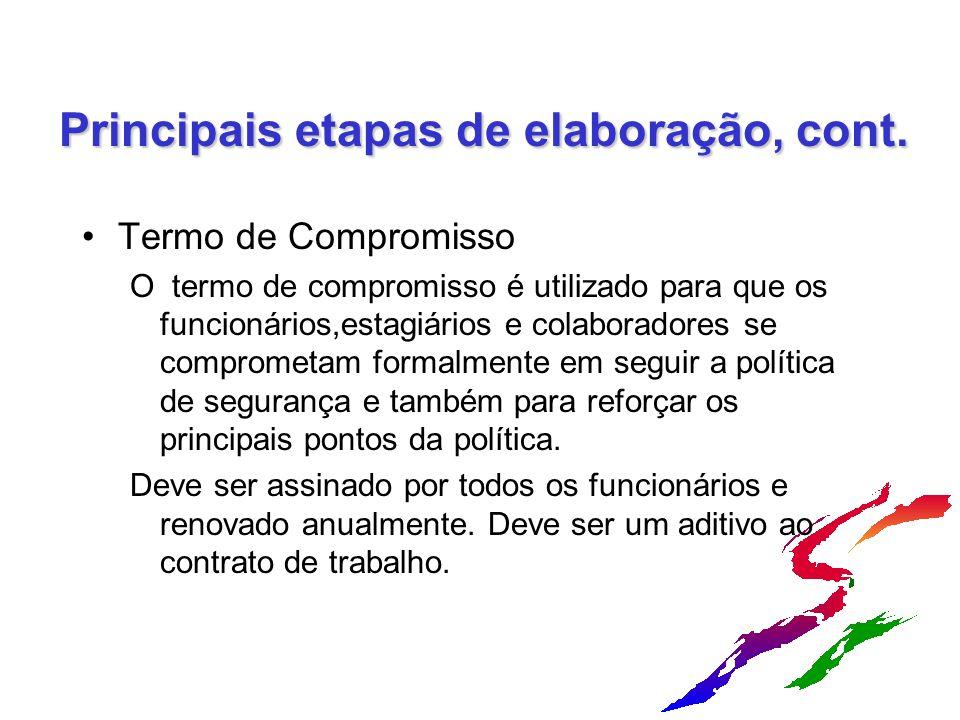 Principais etapas de elaboração, cont. Termo de Compromisso O termo de compromisso é utilizado para que os funcionários,estagiários e colaboradores se