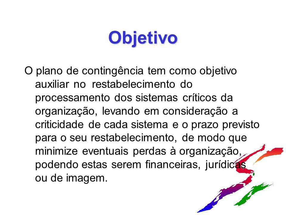 Objetivo O plano de contingência tem como objetivo auxiliar no restabelecimento do processamento dos sistemas críticos da organização, levando em cons
