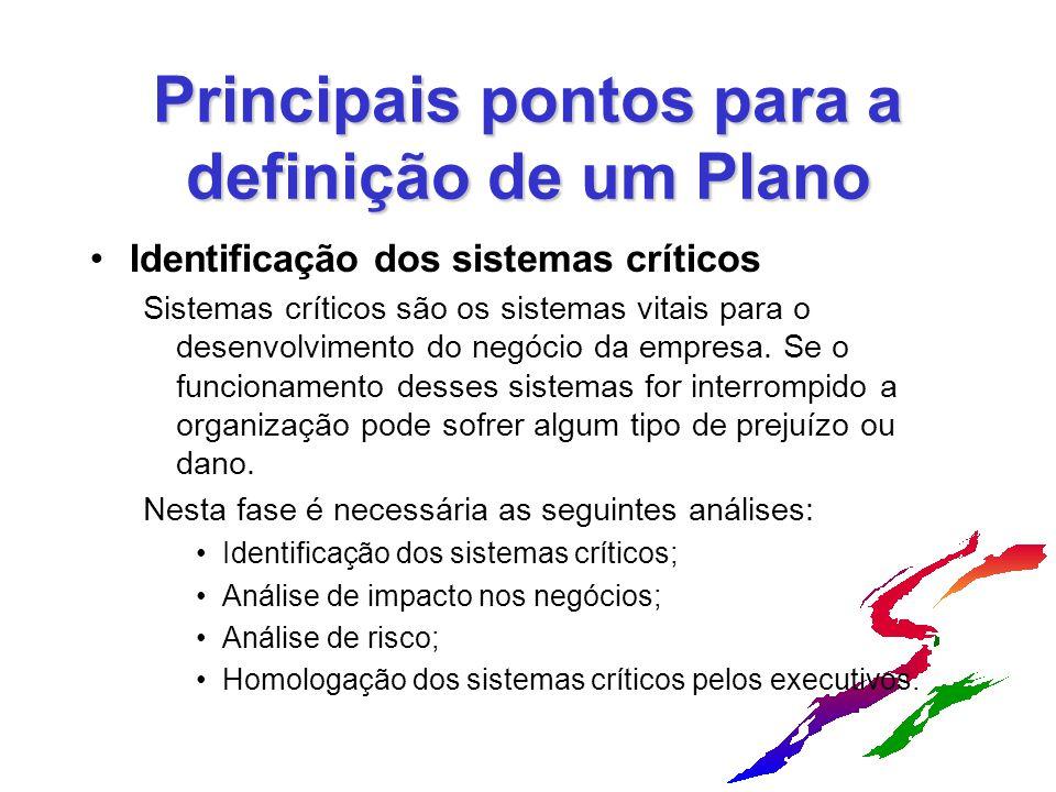 Principais pontos para a definição de um Plano Identificação dos sistemas críticos Sistemas críticos são os sistemas vitais para o desenvolvimento do negócio da empresa.