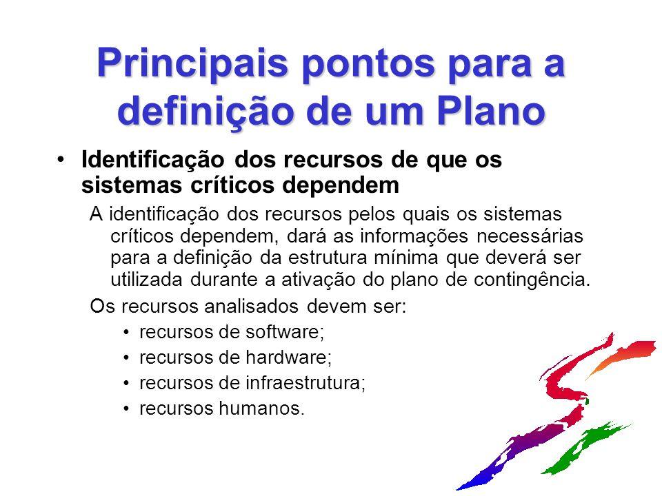 Principais pontos para a definição de um Plano Identificação dos recursos de que os sistemas críticos dependem A identificação dos recursos pelos quai