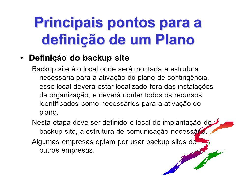 Principais pontos para a definição de um Plano Definição do backup site Backup site é o local onde será montada a estrutura necessária para a ativação