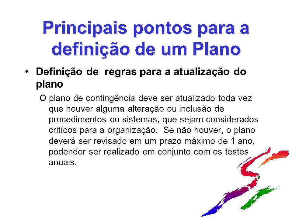 Principais pontos para a definição de um Plano Definição de regras para a atualização do plano O plano de contingência deve ser atualizado toda vez qu