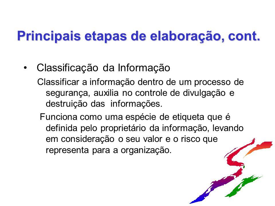 Principais etapas de elaboração, cont. Classificação da Informação Classificar a informação dentro de um processo de segurança, auxilia no controle de