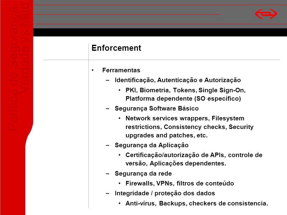 Política de Segurança: Verdade vs Mito Enforcement Ferramentas –Identificação, Autenticação e Autorização PKI, Biometria, Tokens, Single Sign-On, Plat