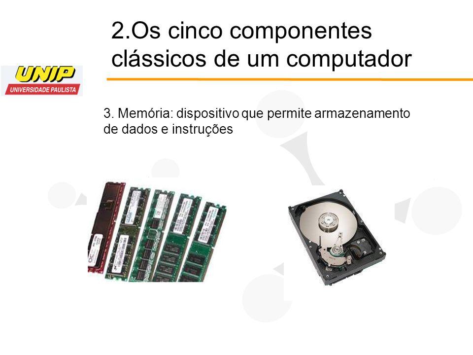 2.Os cinco componentes clássicos de um computador 3. Memória: dispositivo que permite armazenamento de dados e instruções