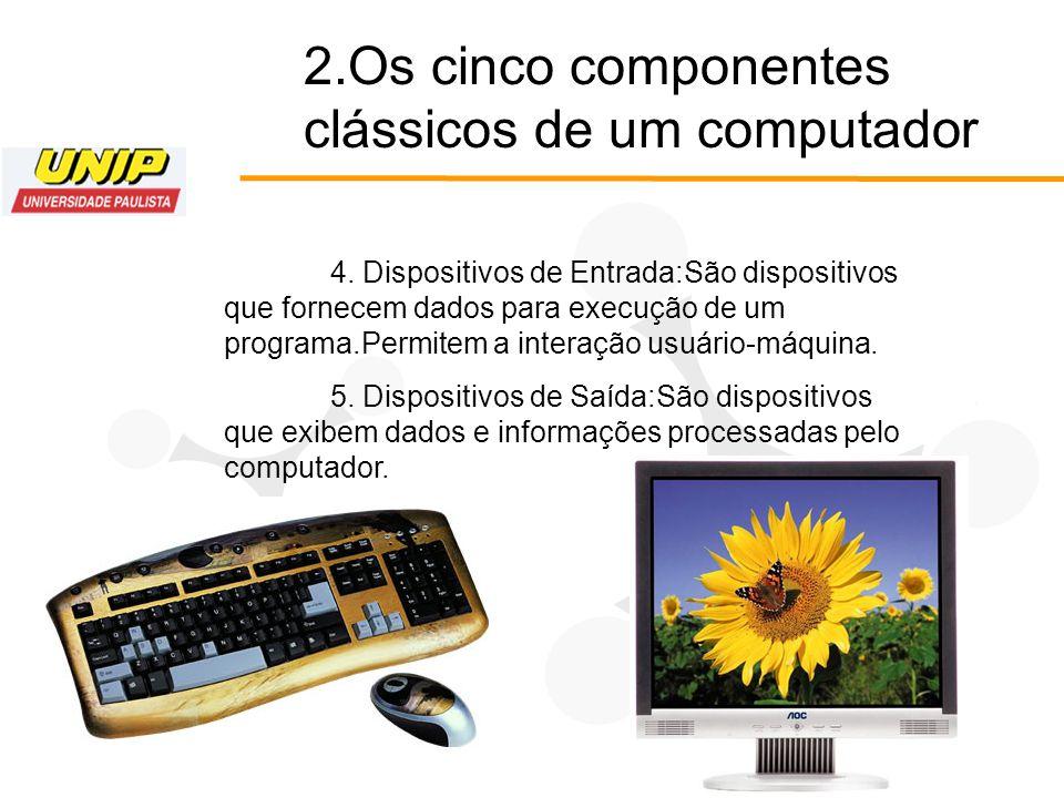 2.Os cinco componentes clássicos de um computador 4. Dispositivos de Entrada:São dispositivos que fornecem dados para execução de um programa.Permitem