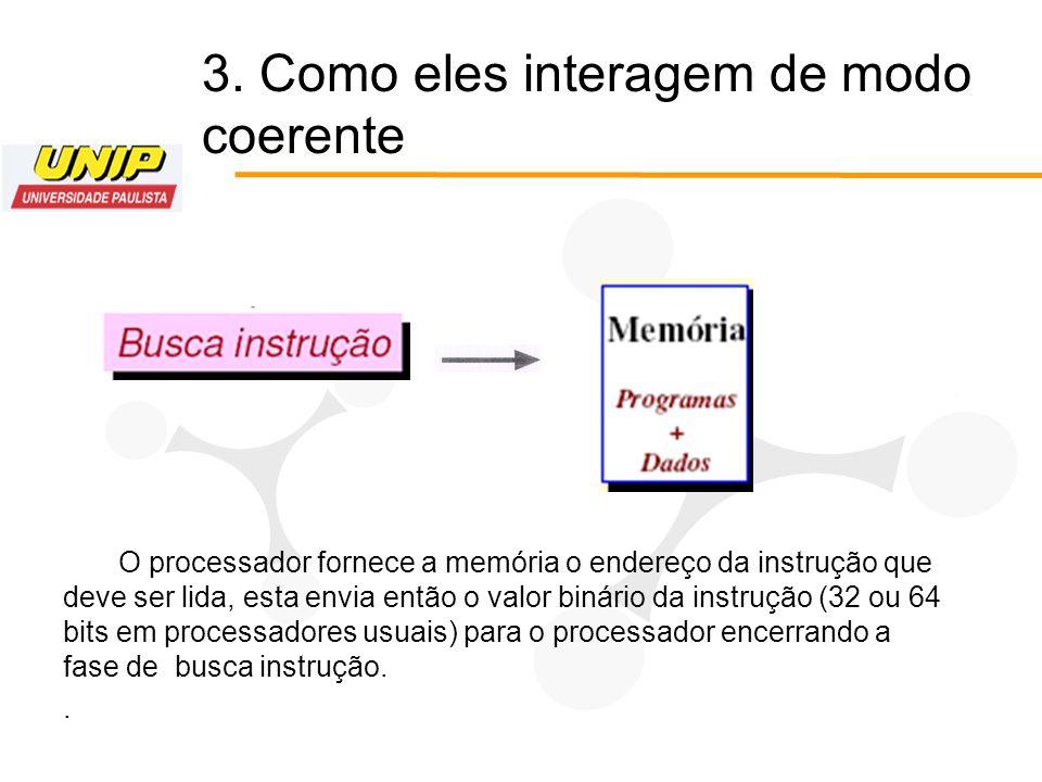 O processador fornece a memória o endereço da instrução que deve ser lida, esta envia então o valor binário da instrução (32 ou 64 bits em processador