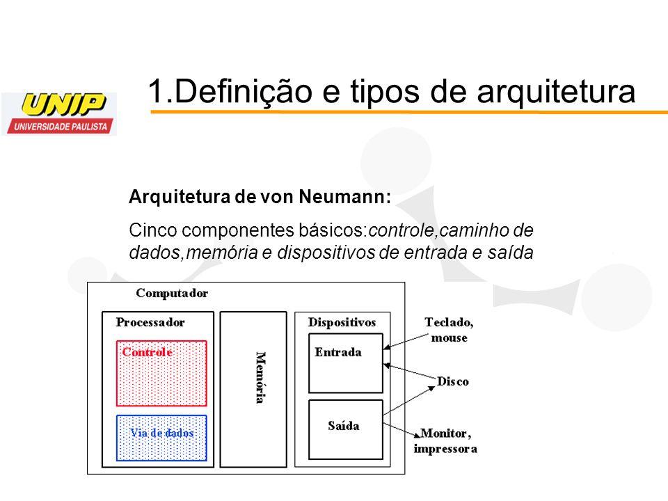 1.Definição e tipos de arquitetura Arquitetura de von Neumann: Cinco componentes básicos:controle,caminho de dados,memória e dispositivos de entrada e