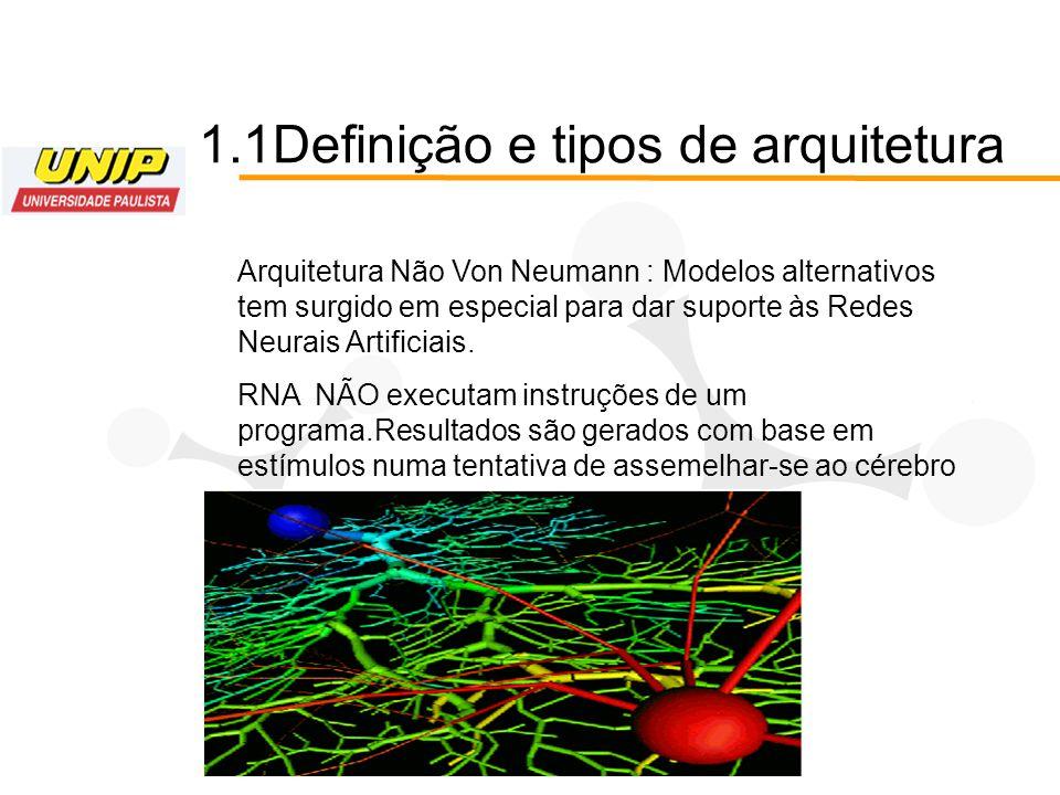 1.1Definição e tipos de arquitetura Arquitetura Não Von Neumann : Modelos alternativos tem surgido em especial para dar suporte às Redes Neurais Artif