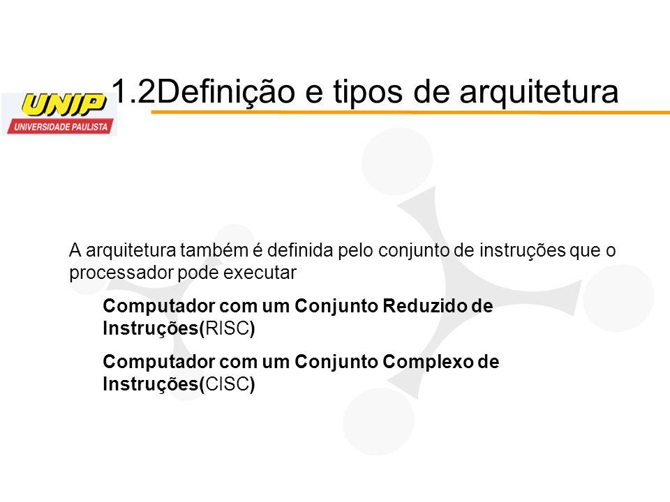 1.2Definição e tipos de arquitetura A arquitetura também é definida pelo conjunto de instruções que o processador pode executar Computador com um Conj