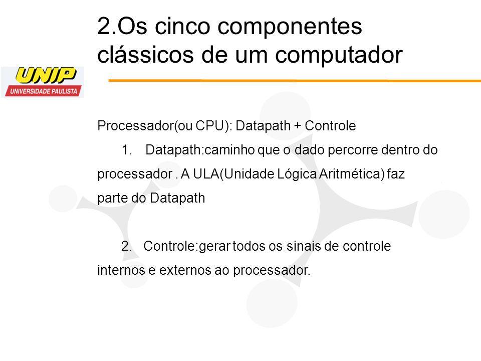2.Os cinco componentes clássicos de um computador Processador(ou CPU): Datapath + Controle 1.Datapath:caminho que o dado percorre dentro do processado