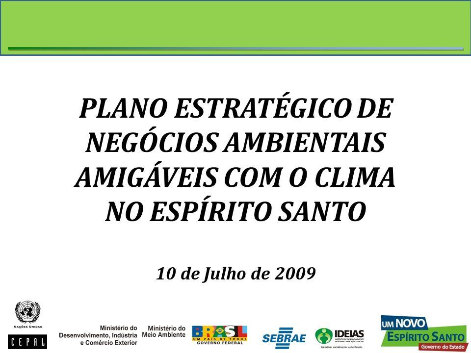 PLANO ESTRATÉGICO DE NEGÓCIOS AMBIENTAIS AMIGÁVEIS COM O CLIMA NO ESPÍRITO SANTO 10 de Julho de 2009
