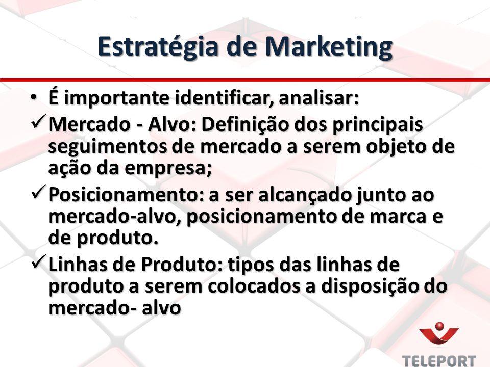 Estratégia de Marketing É importante identificar, analisar: É importante identificar, analisar: Mercado - Alvo: Definição dos principais seguimentos d