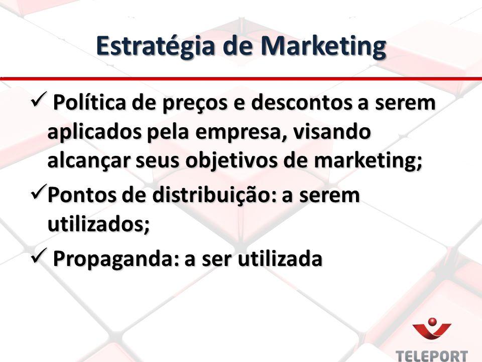 Estratégia de Marketing Política de preços e descontos a serem aplicados pela empresa, visando alcançar seus objetivos de marketing; Política de preço