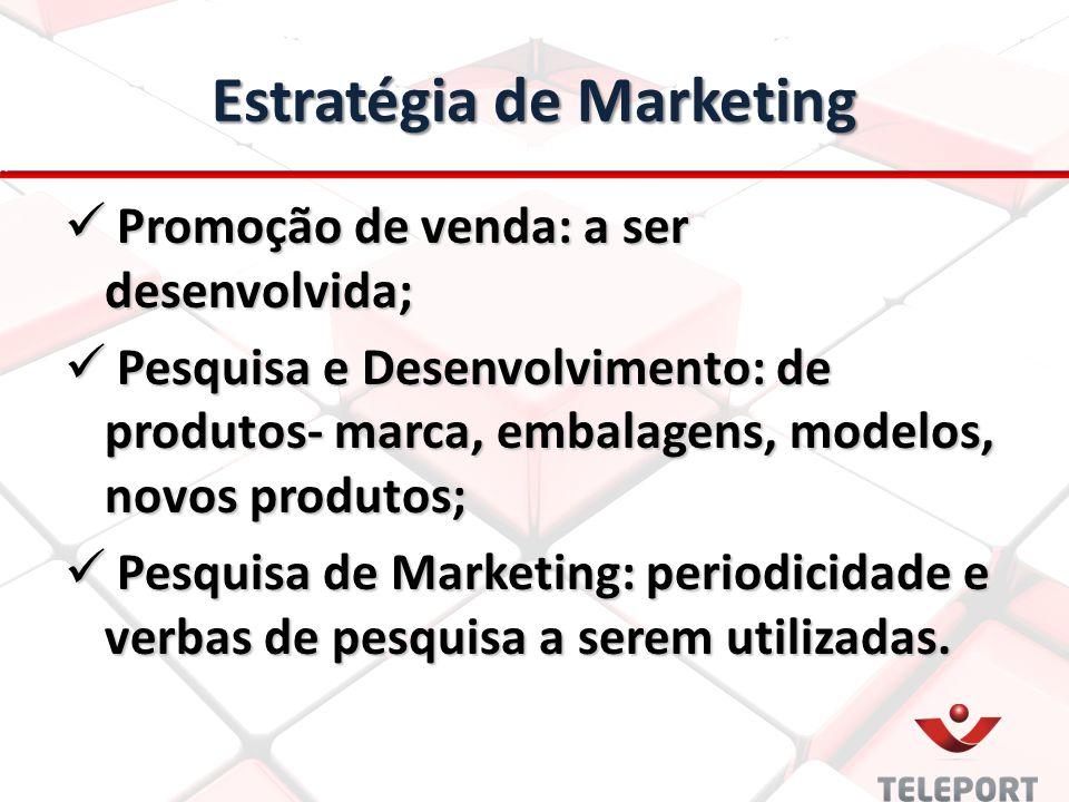 Estratégia de Marketing Promoção de venda: a ser desenvolvida; Promoção de venda: a ser desenvolvida; Pesquisa e Desenvolvimento: de produtos- marca,