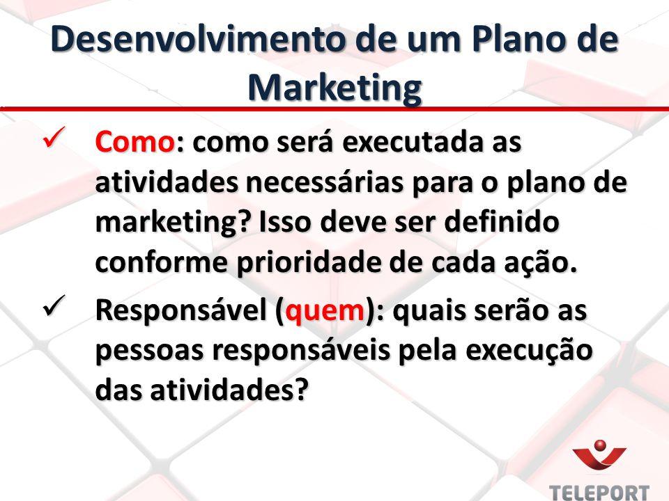 Desenvolvimento de um Plano de Marketing Como: como será executada as atividades necessárias para o plano de marketing? Isso deve ser definido conform
