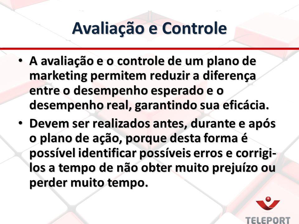 Avaliação e Controle A avaliação e o controle de um plano de marketing permitem reduzir a diferença entre o desempenho esperado e o desempenho real, g