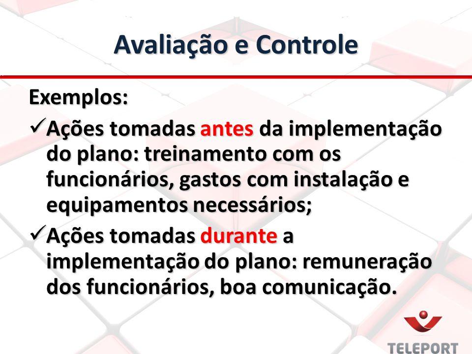 Avaliação e Controle Exemplos: Ações tomadas antes da implementação do plano: treinamento com os funcionários, gastos com instalação e equipamentos ne