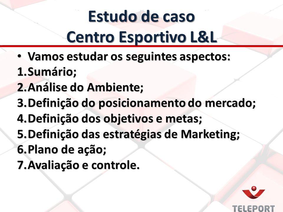 Estudo de caso Centro Esportivo L&L Vamos estudar os seguintes aspectos: Vamos estudar os seguintes aspectos: 1.Sumário; 2.Análise do Ambiente; 3.Defi
