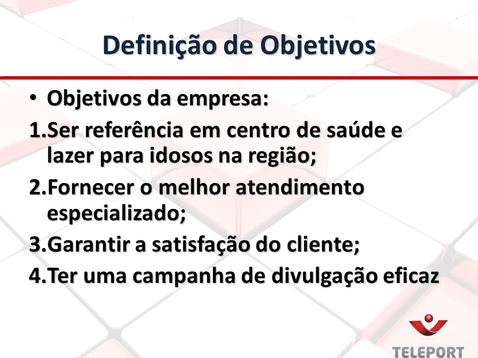 Definição de Objetivos Objetivos da empresa: Objetivos da empresa: 1.Ser referência em centro de saúde e lazer para idosos na região; 2.Fornecer o mel