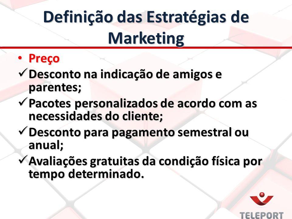 Definição das Estratégias de Marketing Preço Preço Desconto na indicação de amigos e parentes; Desconto na indicação de amigos e parentes; Pacotes per