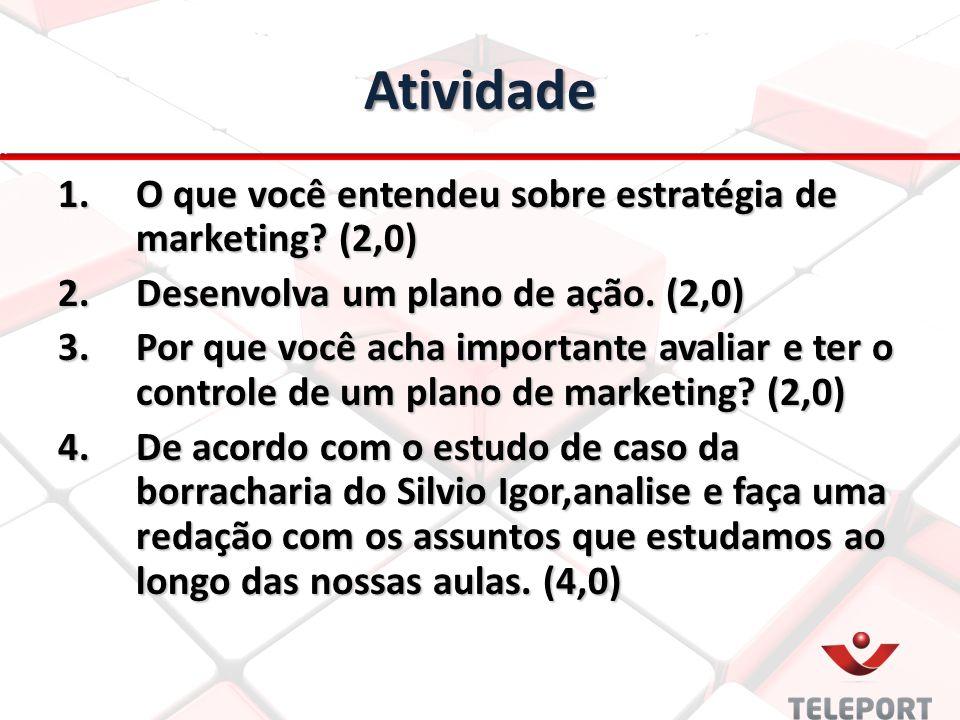 Atividade 1.O que você entendeu sobre estratégia de marketing? (2,0) 2.Desenvolva um plano de ação. (2,0) 3.Por que você acha importante avaliar e ter