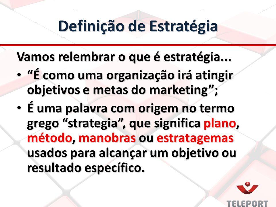 """Definição de Estratégia Vamos relembrar o que é estratégia... """"É como uma organização irá atingir objetivos e metas do marketing""""; """"É como uma organiz"""