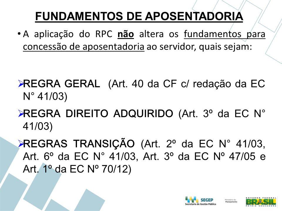 FUNDAMENTOS DE APOSENTADORIA A aplicação do RPC não altera os fundamentos para concessão de aposentadoria ao servidor, quais sejam:  REGRA GERAL (Art