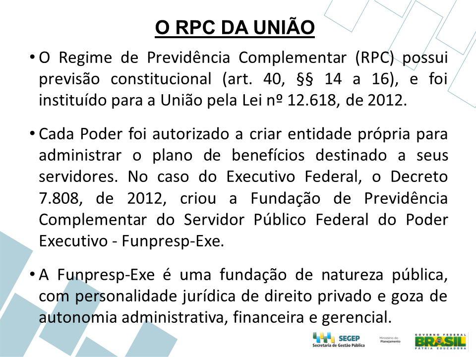 O RPC DA UNIÃO O Regime de Previdência Complementar (RPC) possui previsão constitucional (art. 40, §§ 14 a 16), e foi instituído para a União pela Lei