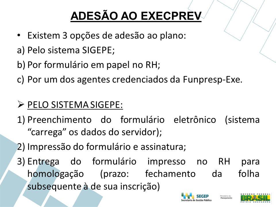 ADESÃO AO EXECPREV Existem 3 opções de adesão ao plano: a)Pelo sistema SIGEPE; b)Por formulário em papel no RH; c)Por um dos agentes credenciados da F