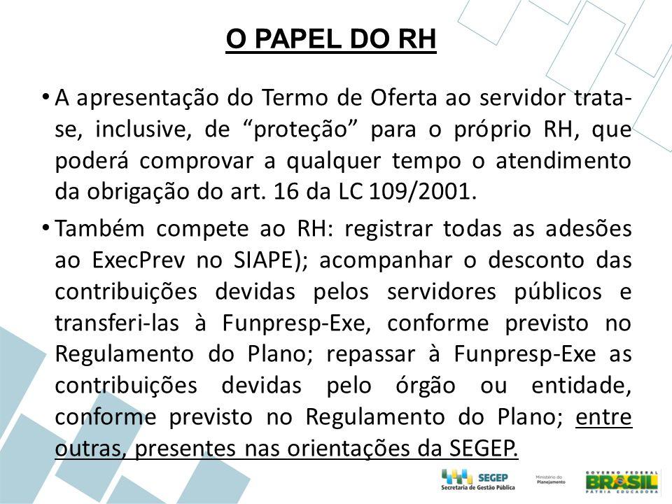 """O PAPEL DO RH A apresentação do Termo de Oferta ao servidor trata- se, inclusive, de """"proteção"""" para o próprio RH, que poderá comprovar a qualquer tem"""