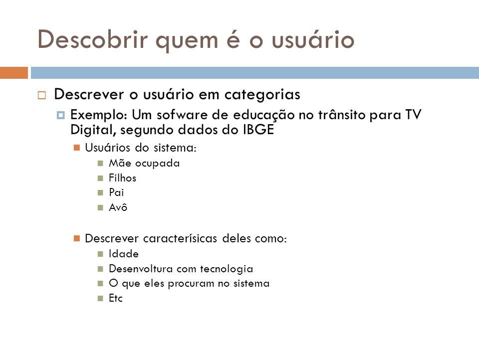 Descobrir quem é o usuário  Descrever o usuário em categorias  Exemplo: Um sofware de educação no trânsito para TV Digital, segundo dados do IBGE Us