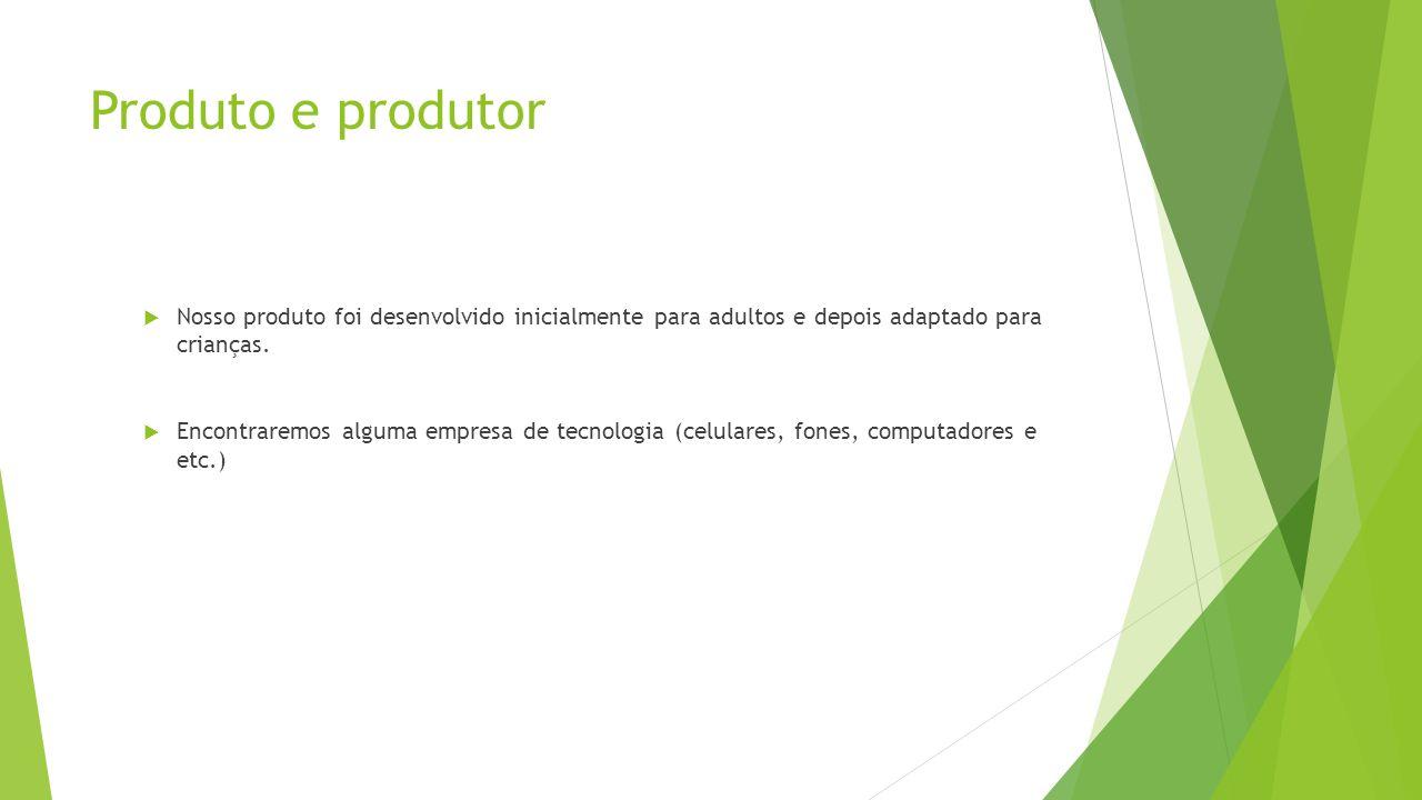 Produto e produtor  Nosso produto foi desenvolvido inicialmente para adultos e depois adaptado para crianças.