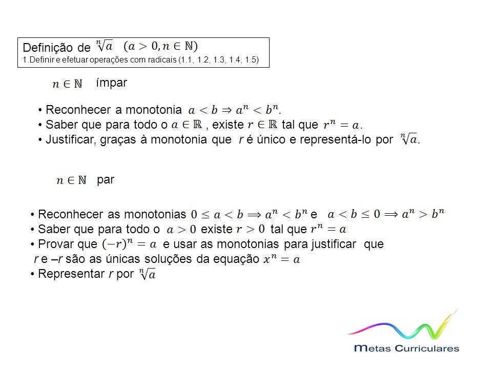 Definição de 1.Definir e efetuar operações com radicais (1.1, 1.2, 1.3, 1.4, 1.5) ímpar Reconhecer a monotonia.