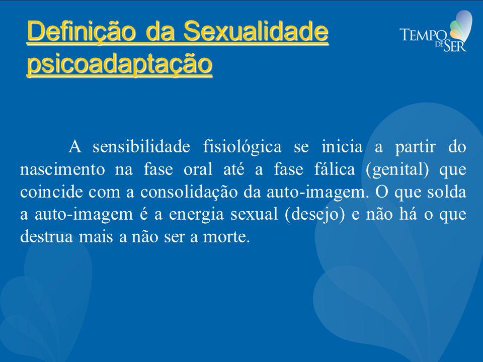 Definição da Sexualidade psicoadaptação A sensibilidade fisiológica se inicia a partir do nascimento na fase oral até a fase fálica (genital) que coincide com a consolidação da auto-imagem.