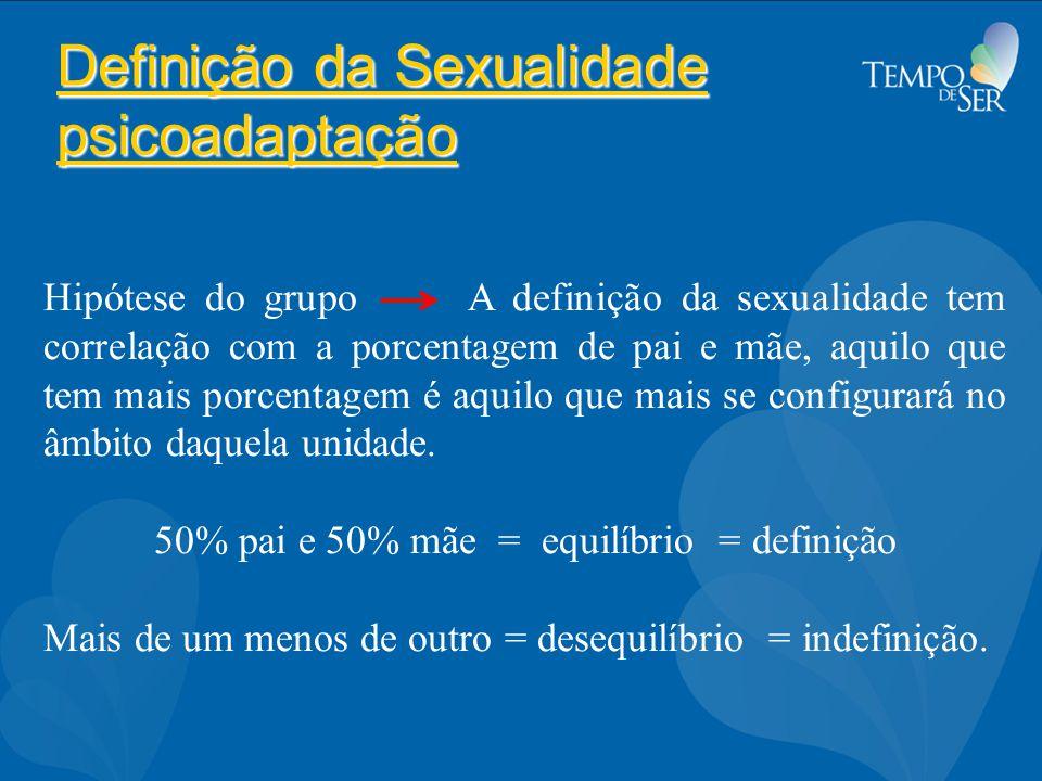 Definição da Sexualidade psicoadaptação Hipótese do grupo A definição da sexualidade tem correlação com a porcentagem de pai e mãe, aquilo que tem mais porcentagem é aquilo que mais se configurará no âmbito daquela unidade.