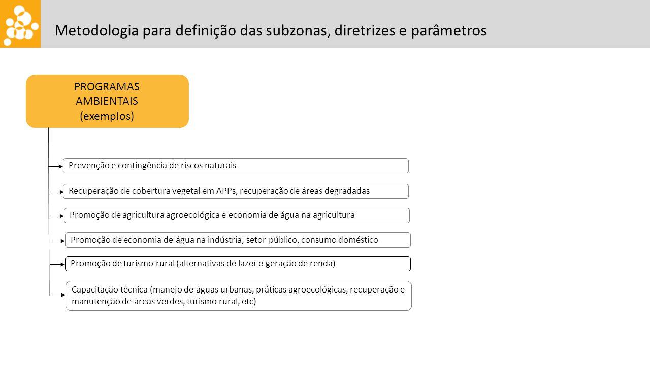 PROGRAMAS AMBIENTAIS (exemplos) Prevenção e contingência de riscos naturais Metodologia para definição das subzonas, diretrizes e parâmetros Recuperaç
