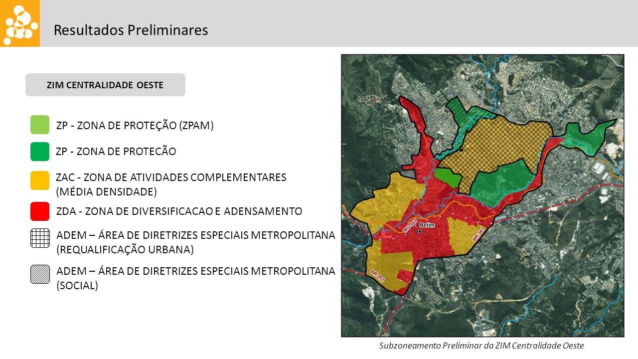 Resultados Preliminares ZIM CENTRALIDADE OESTE Subzoneamento Preliminar da ZIM Centralidade Oeste ZP - ZONA DE PROTEÇÃO (ZPAM) ZP - ZONA DE PROTECÃO Z