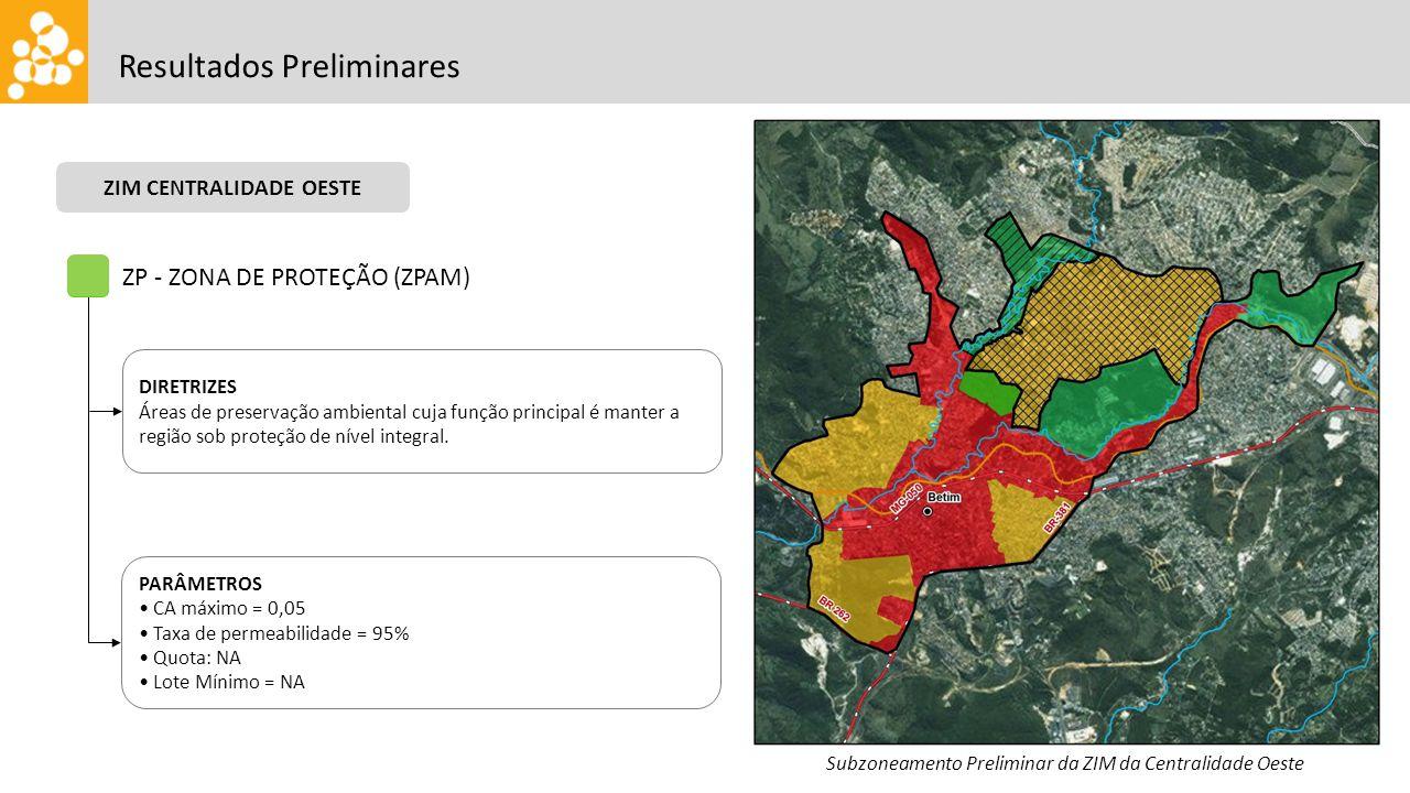 Resultados Preliminares ZP - ZONA DE PROTEÇÃO (ZPAM) DIRETRIZES Áreas de preservação ambiental cuja função principal é manter a região sob proteção de