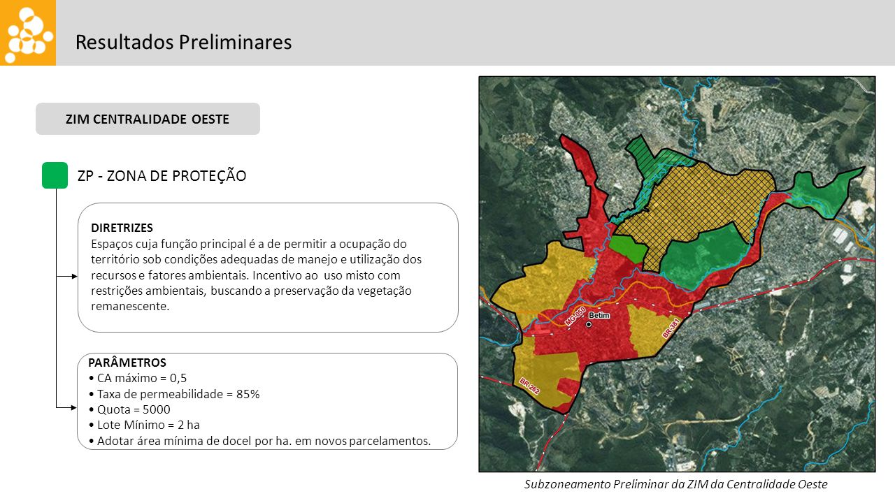 Resultados Preliminares ZP - ZONA DE PROTEÇÃO DIRETRIZES Espaços cuja função principal é a de permitir a ocupação do território sob condições adequada