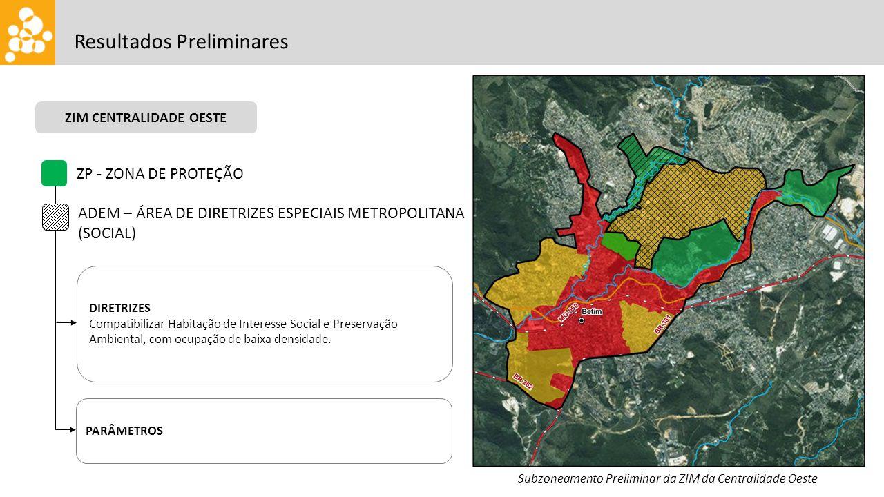 Resultados Preliminares ZP - ZONA DE PROTEÇÃO DIRETRIZES Compatibilizar Habitação de Interesse Social e Preservação Ambiental, com ocupação de baixa d