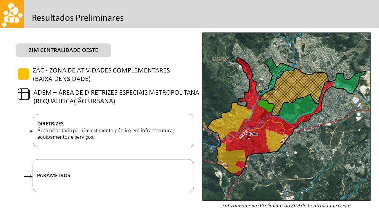 Subzoneamento Preliminar da ZIM da Centralidade Oeste ZIM CENTRALIDADE OESTE Resultados Preliminares ZAC - ZONA DE ATIVIDADES COMPLEMENTARES (BAIXA DE