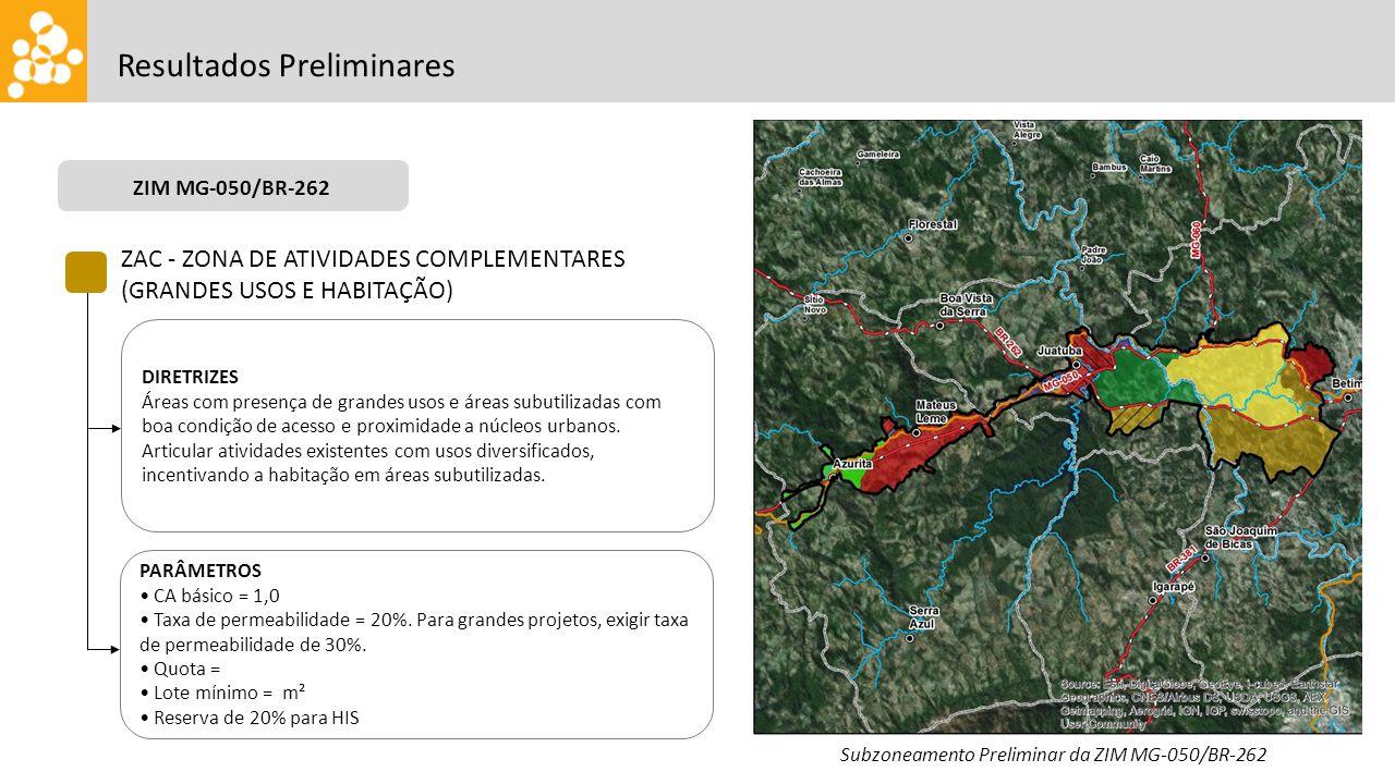 ZIM CENTRALIDADE OESTE Resultados Preliminares ZAC - ZONA DE ATIVIDADES COMPLEMENTARES (GRANDES USOS E HABITAÇÃO) DIRETRIZES Áreas com presença de gra